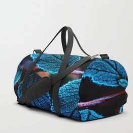 Peacock Blue Leaves Nature Background #decor #society6 #buyart Duffle Bag