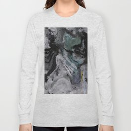 Gray Abstract Painting / Grey Minimalist Wall Art Long Sleeve T-shirt
