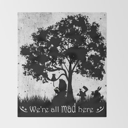 We're All Mad Here Alice In Wonderland Silhouette Art Throw Blanket