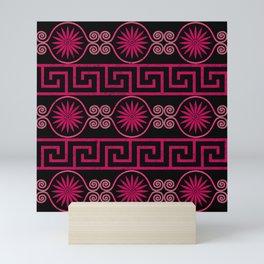 Ornate Greek Bands in Pink Mini Art Print