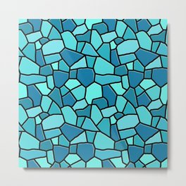 Stained Glass Blue Metal Print