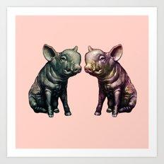 true love (pig love) Art Print
