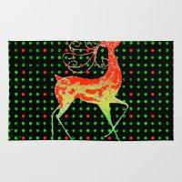 reindeer Area & Throw Rugs featuring Reindeer by Saundra Myles