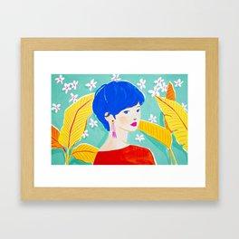 Short Hair Girl in Red Framed Art Print