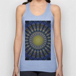 Dark blue and yellow mandala Unisex Tank Top