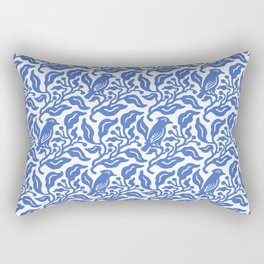 Bird and Berries Pattern Blue Rectangular Pillow