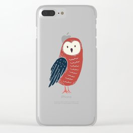 Red Baby Owl with Blue Feathers Clear iPhone Case