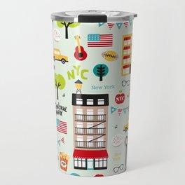 Fun New York City Manhattan travel icons life hipster pattern Travel Mug