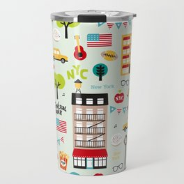 Fun New York City Manhattan travel icons life hipster pattern Travel Mug