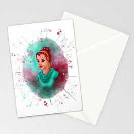 Girl With Mandala Gold Earring Stationery Cards