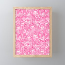 11 Small Flowers on Pink Watercolor Framed Mini Art Print