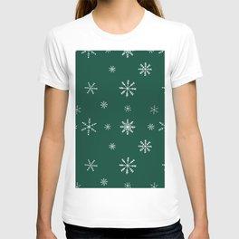 Christmas season forest green white snowflakes pattern T-shirt
