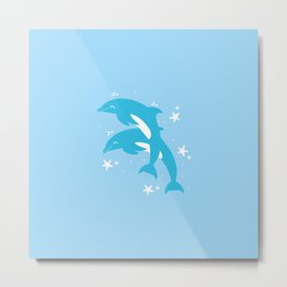 Sealife (Dolphins) - Pale Blue Metal Print