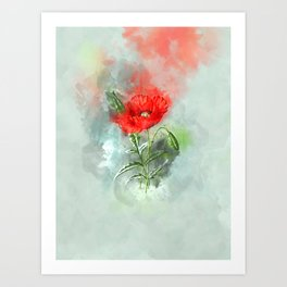 Red Poppy #watercolor #floral Art Print