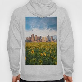 Boston Massachusetts Skyline and Sunflower Field Hoody