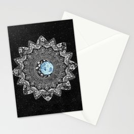 Blue Moon Floral Mandala with Background Stationery Cards