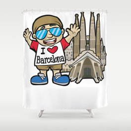 I LOVE BARCELONA Spain La Sagrada Familia Shower Curtain