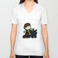 hiccup V-neck T-shirts featuring Chibi Hiccup and Toothless by Gio Garcia