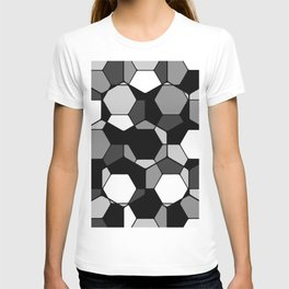 Retro Rocks - 50 Shades Of Grey - Abstract, black and white, hexagonal pattern T-shirt