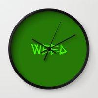 weed Wall Clocks featuring WEED by LOOSECANNONGEAR