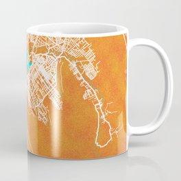 Port Louis, Mauritius, Gold, Blue, City, Map Coffee Mug
