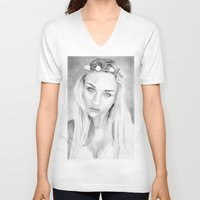 anna V-neck T-shirts featuring Anna  by donotseemeart