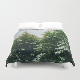 Winter Pine Tree Forest (Color) Duvet Cover