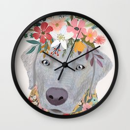 Silver Labrador with Flowers Wall Clock