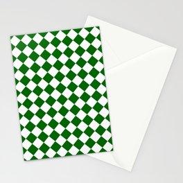 Diamonds - White and Dark Green Stationery Cards