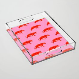 Vintage Cheetahs in Coral + Red Acrylic Tray