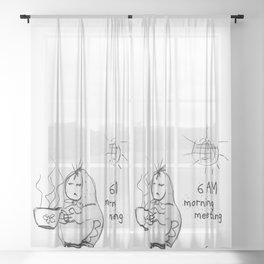 SKETCHY MORNING Sheer Curtain