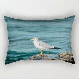 Seagull Perched on Rocky Shore of Lake Michigan in Holland MI Rectangular Pillow