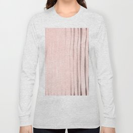 Rose Gold Pastel Pink Vertical Stripes Long Sleeve T-shirt