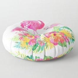 Pink flamingos & tropical flowers Floor Pillow