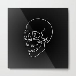 Line Skull in Black Metal Print