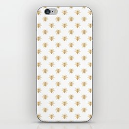 Gold Metallic Faux Foil Photo-Effect Bees on White iPhone Skin
