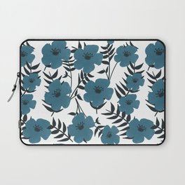 Blue Flowers with Banana Leaves Laptop Sleeve