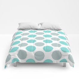 Turquoise, gray and white striped texture polka dots pattern Comforters