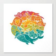 Animal Rainbow Canvas Print