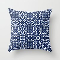aelwen Throw Pillows featuring Blue by Shelly Bremmer