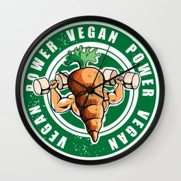 Vegan Power Workout Muscle Carrot Gym Work Wall Clock