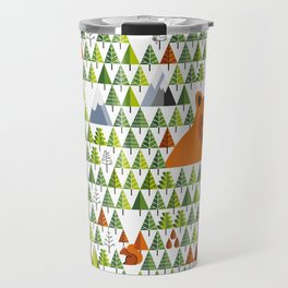 Barnål Bjørn - Pine Needle Bear, Nordic tree, forest, wood, mountain pattern Travel Mug