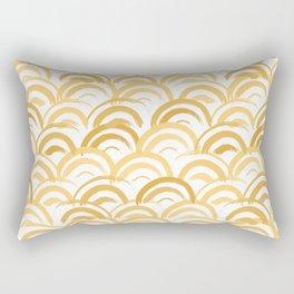 Watercolor Japanese Traditional Pattern Wave Seigaiha Rectangular Pillow