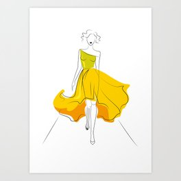 Fashion model silhouette on podium yellow Art Print
