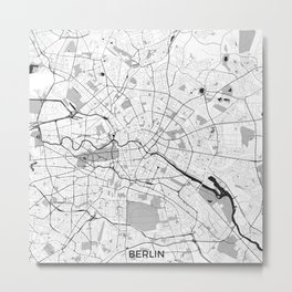 Berlin Map Gray Metal Print