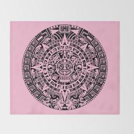 Mayan Calendar // Pink Throw Blanket
