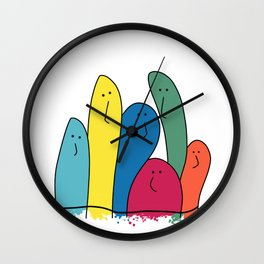 My colorful friends are nosy and funny Wall Clock