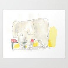 Elephant loves apples Art Print