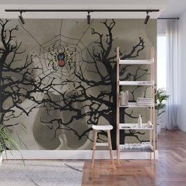 halloween Spider in web between trees Wall Mural