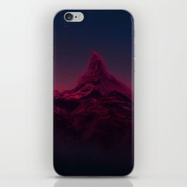 Pink mountains at night iPhone Skin
